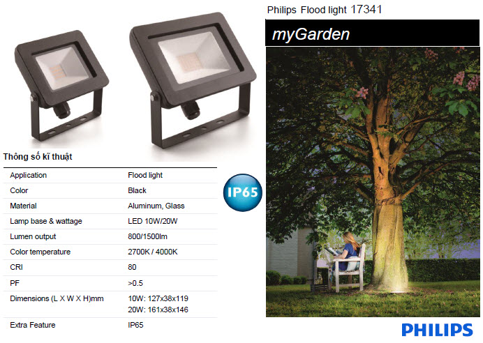 Đèn pha Led Philips Flood light MyGarden 17341 10W 4000K